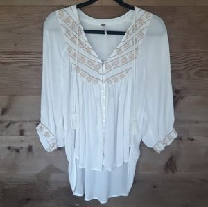 Free People Loose Fit Top with Golden Embroidery